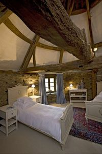 Top floor twin bedroom of the Pigeonnier