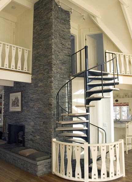 The magnificent stonework and spiral staircase that connects all three floors.