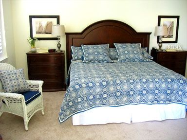 Navy and white, our classy Pottery Barn style master suite with amazing views!