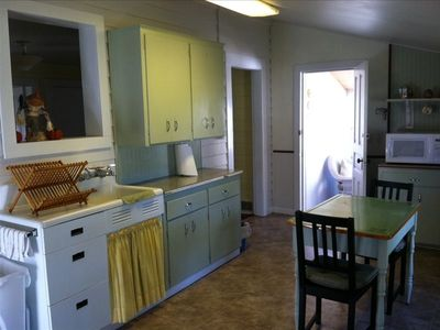 Fully equiped kitchen that has a view of Lake Pepin!