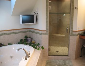 Mstr bath with custom double headed walk-in shower