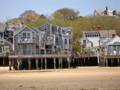 Provincetown condo rental - View from the beach at low tide - unit is upstairs with the blue chairs