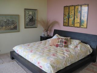 Playa Ocotal house photo - The designer Flower Bedroom of Spyglass House, look at the Bay from bed
