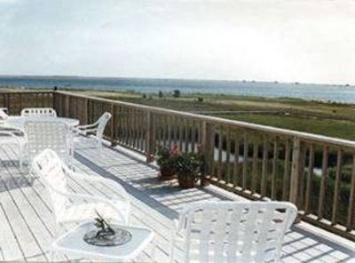 Chatham house rental - Beautiful upper deck with 180 degree views of Chatham Harbor, outer beach/ocean.