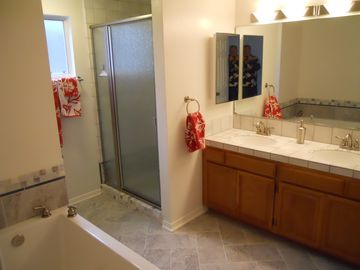 Master Bath with shower, spa style soaking tub, double sinks.