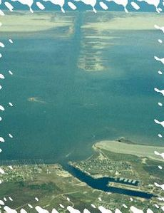 From bottom: Harbor, Laguna Madre, spoil islands, East Cut thru Padre Is., Gulf