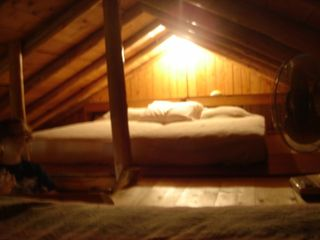 Pentwater cabin photo - Sleeping loft has four twins on floor