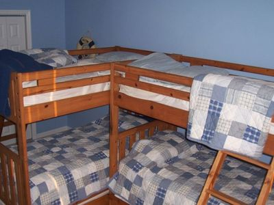 Kids bunk beds with pull out sleepers (6 twin beds in the kids room)