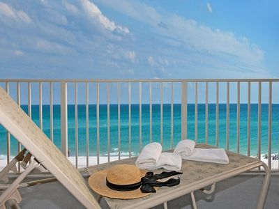 Relax and enjoy the view of the Beach and Gulf from Your Large Balcony