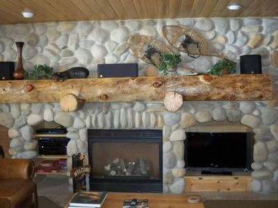 Exquisite River Rock Fireplace