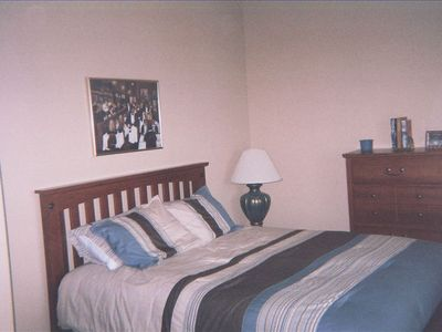 3rd BR w/queen bed, new furn. & linens. Ceiling fan, nice closet.