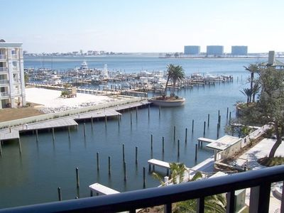 view of marina, bay and gulf from our living room/master bedroom/deck