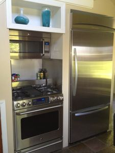 Microwave, Oven, Gas Cooktop, Extra Large Refrig/Freezer with Ice Maker