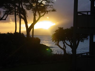 Sunset from the lanai of Napili Bay #116