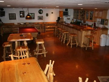 Rec/Bar Area with pool table, darts, shuffleboard, card table, cd player, stereo