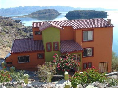 A view from our parking area shows the villa with new colors