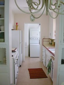 Laundry room and kitchen.