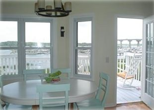 Great Room/Dining Area looking toward deck and marina