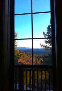 View from master bedroom, from where mule deer & rabbits are seen most mornings.
