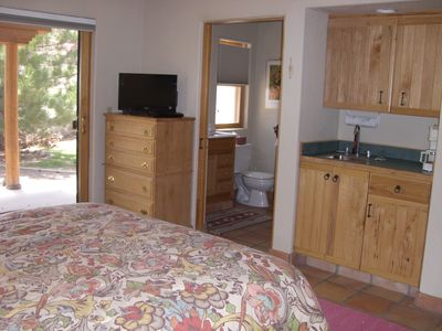 TV, DVD player. In-room sink and cabinets stocked with cooking utensils