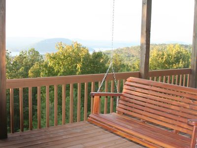 Lower Deck with 2 Large Cedar Porch Swings for relaxing