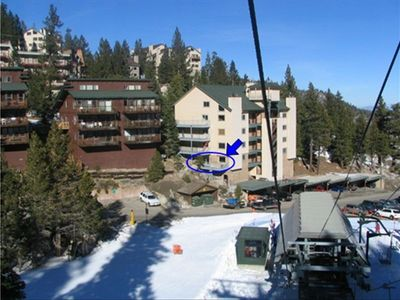 View of condo, as seen from the chairlift