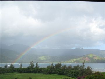 Hanalei condo rental - rainbow from condo