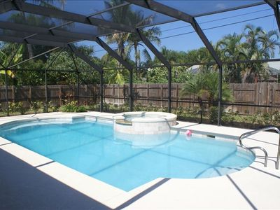 Beautiful heated pool & spa with privacy fencing surrounding the Villa.