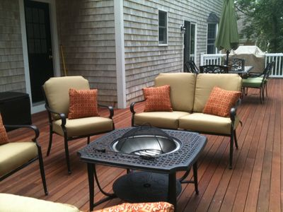 Mashpee house rental - deck, relaxing and watching the sunset.