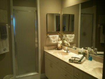 The master bath has double sinks, a shower, and a large walk-in closet.