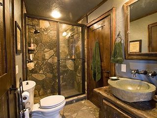 Sapphire cabin photo - Granite and antique wood bath.