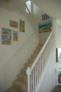 Come on upstairs and view our fun seaside art on the way!
