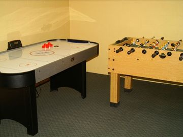 Airhockey, Foosball, Board games and more. Lower level deck with swing