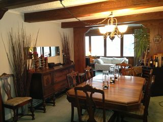 Sainte-Adèle cottage photo - Dining room with wood beams