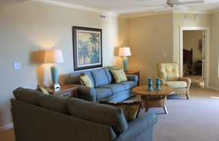Kingston Plantation condo photo - Living room with 2 full size sofas and side chair.