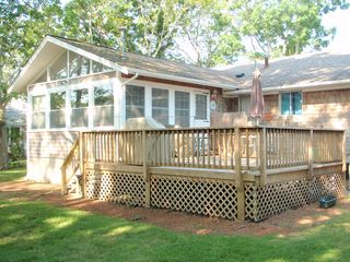 Falmouth house photo - Large deck with gas grill, table/chairs.