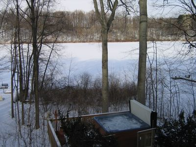 Union Pier house rental - Your own private Hot Tub overlooking lake. Winter Time is fantastic!