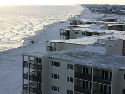 A view of the mid-rise units at Pinnacle Port, facing east toward Destin