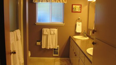 Downstair bathroom with two sinks
