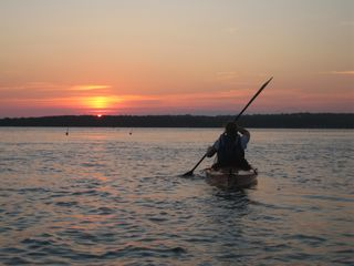 Westport Island house photo - Kayaking and sunsets from the dock.