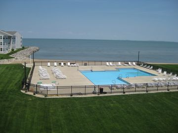 Port Clinton condo rental - Actual view from condo! Beach AND Pool Front - What a view!