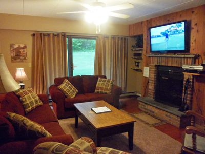 Living Room with fireplace, free firewood, & hi-def TV