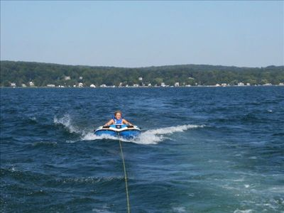 Tubing on Portage Lake