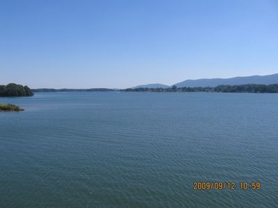Spectacular wide water and mountain views from 2 decks and lakeside windows.