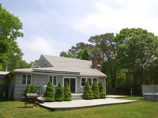 Hampton Bays house photo - private yard with sun and shade, pool and decks