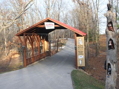 Cross under the covered bridge into Branson Cedars Resort where Sweet Life is.