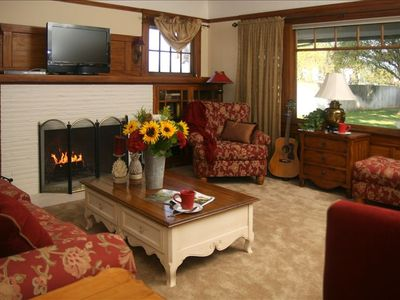 Living Room and Fireplace with Hi Def TV, Satellite Cable and DVD player