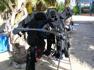 Bonaire apartment photo - dive gear a common site at perla, marotin has it's own rinsetanks