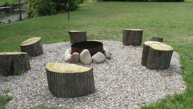 Newly updated fire pit with seating.