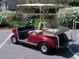 Kingston Plantation condo photo - Club Car with 4 seats and a beach chair holder. Front and tails lights.